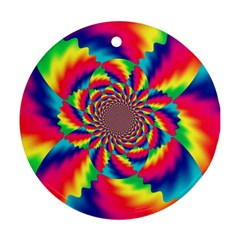 Colorful Psychedelic Art Background Ornament (round)