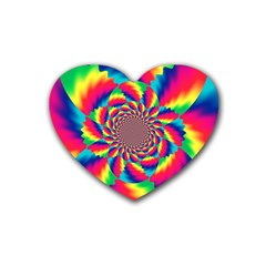 Colorful Psychedelic Art Background Rubber Coaster (heart)