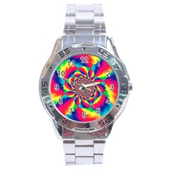 Colorful Psychedelic Art Background Stainless Steel Analogue Watch