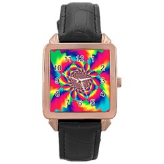 Colorful Psychedelic Art Background Rose Gold Leather Watch