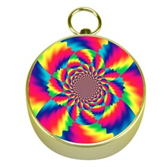 Colorful Psychedelic Art Background Gold Compasses