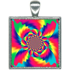 Colorful Psychedelic Art Background Square Necklace by Jojostore