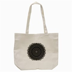 Black Lace Kaleidoscope On White Tote Bag (cream)