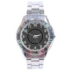 Black Lace Kaleidoscope On White Stainless Steel Analogue Watch by Jojostore