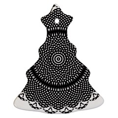 Black Lace Kaleidoscope On White Christmas Tree Ornament (two Sides)
