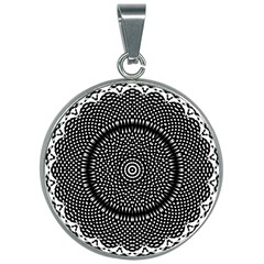 Black Lace Kaleidoscope On White 30mm Round Necklace