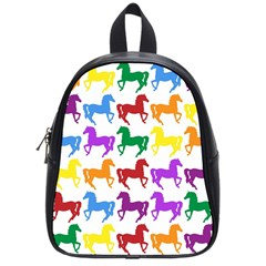 Colorful Horse Background Wallpaper School Bag (small)