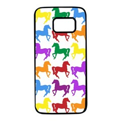Colorful Horse Background Wallpaper Samsung Galaxy S7 Black Seamless Case