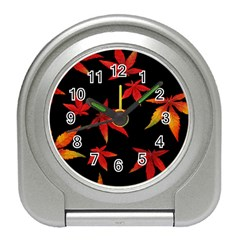 Colorful Autumn Leaves On Black Background Travel Alarm Clock