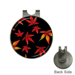Colorful Autumn Leaves On Black Background Hat Clips With Golf Markers