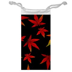 Colorful Autumn Leaves On Black Background Jewelry Bag