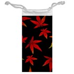 Colorful Autumn Leaves On Black Background Jewelry Bag Back