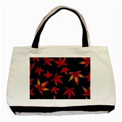 Colorful Autumn Leaves On Black Background Basic Tote Bag by Jojostore
