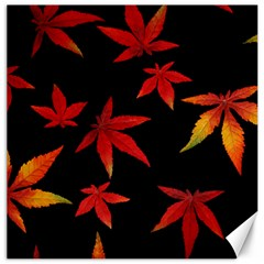 Colorful Autumn Leaves On Black Background Canvas 16  X 16