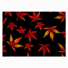 Colorful Autumn Leaves On Black Background Large Glasses Cloth