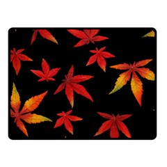Colorful Autumn Leaves On Black Background Fleece Blanket (small)