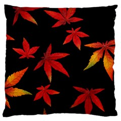 Colorful Autumn Leaves On Black Background Large Cushion Case (one Side)