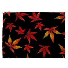 Colorful Autumn Leaves On Black Background Cosmetic Bag (xxl)