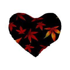 Colorful Autumn Leaves On Black Background Standard 16  Premium Heart Shape Cushions by Jojostore