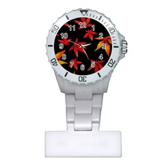 Colorful Autumn Leaves On Black Background Plastic Nurses Watch by Jojostore