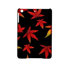 Colorful Autumn Leaves On Black Background Ipad Mini 2 Hardshell Cases