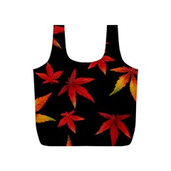 Colorful Autumn Leaves On Black Background Full Print Recycle Bag (s) by Jojostore