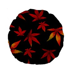 Colorful Autumn Leaves On Black Background Standard 15  Premium Flano Round Cushions