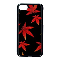 Colorful Autumn Leaves On Black Background Apple Iphone 7 Seamless Case (black)