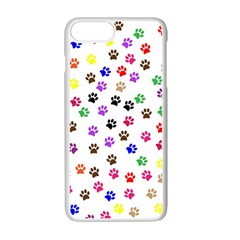 Paw Prints Background Apple Iphone 7 Plus Seamless Case (white)