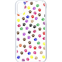 Paw Prints Background Apple Iphone X Seamless Case (white)