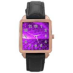 Circular Color Rose Gold Leather Watch  by Jojostore
