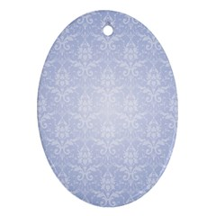 Damask Pattern Wallpaper Blue Ornament (oval)
