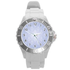 Damask Pattern Wallpaper Blue Round Plastic Sport Watch (l)