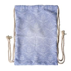 Damask Pattern Wallpaper Blue Drawstring Bag (large) by Jojostore