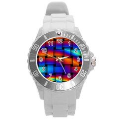 Rainbow Weaving Pattern Round Plastic Sport Watch (l)