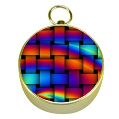 Rainbow Weaving Pattern Gold Compasses by Jojostore