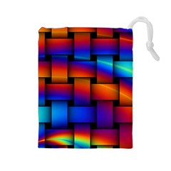 Rainbow Weaving Pattern Drawstring Pouch (large)