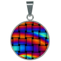 Rainbow Weaving Pattern 25mm Round Necklace