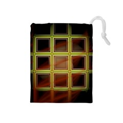 Drawing Of A Color Fractal Window Drawstring Pouch (medium)