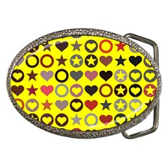 Heart Circle Star Seamless Pattern Belt Buckles
