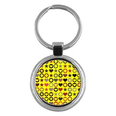 Heart Circle Star Seamless Pattern Key Chains (round)