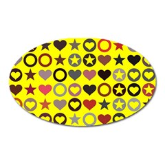 Heart Circle Star Seamless Pattern Oval Magnet