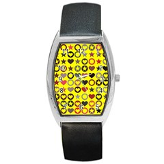 Heart Circle Star Seamless Pattern Barrel Style Metal Watch