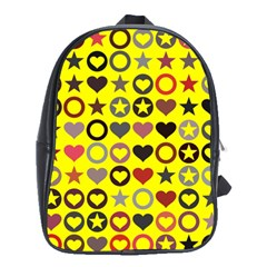 Heart Circle Star Seamless Pattern School Bag (xl)