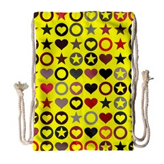 Heart Circle Star Seamless Pattern Drawstring Bag (large)