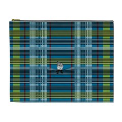 Playing With Plaid Kitten (blue) Pattern Cosmetic Bag (xl)