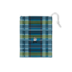 Playing With Plaid Kitten (blue) Pattern Drawstring Pouch (small)