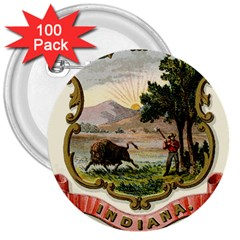 Historical Coat Of Arms Of Indiana 3  Buttons (100 Pack)