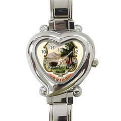 Historical Coat Of Arms Of Indiana Heart Italian Charm Watch by abbeyz71