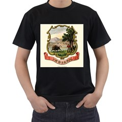 Historical Coat Of Arms Of Indiana Men s T Shirt (black) (two Sided)